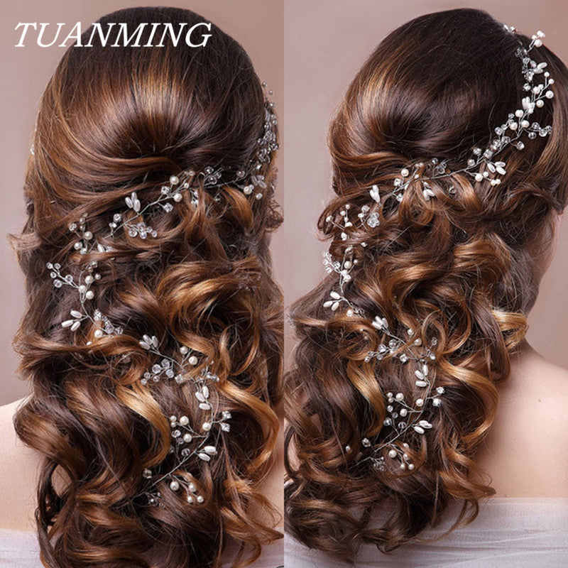 Wedding Headband Pearl Flower Bride Headbands Hair Tiara - ShopOnlineNG01