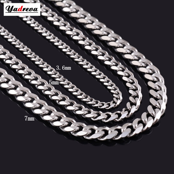 Never Fade 3.5mm/5mm/7mm Stainless Steel Cuban Chain - ShopOnlineNG01
