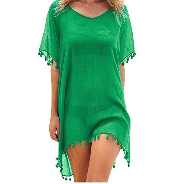 2019 New Chiffon Tassels Beach Wear Women Swimsuit Cover Up Swimwear Bathing Suits Summer Mini Dress Loose Solid Pareo Cover Ups - ShopOnlineNG01