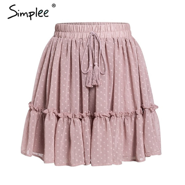 Simplee Casual polka dot mini women skirt - ShopOnlineNG01