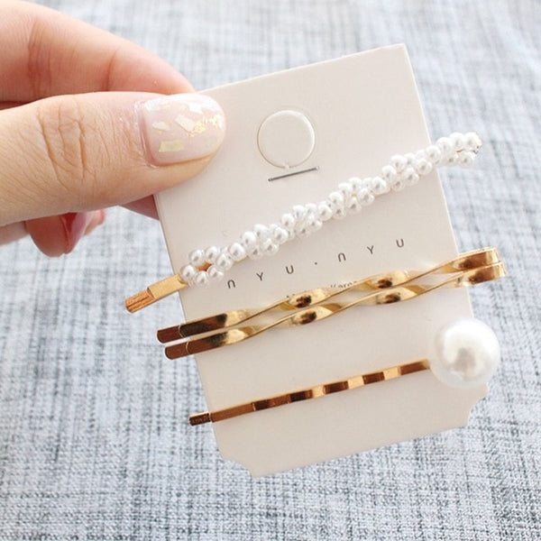 3Pcs/Set Pearl Metal Hair Clip Hairband Comb Bobby Pin Barrette Hairpin Headdress Accessories - ShopOnlineNG01