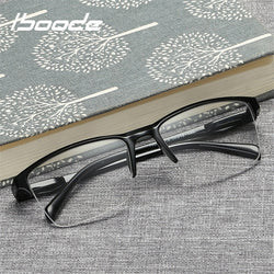 iboode Half Frame Reading Glasses Presbyopic Eyewear Male Female Far sight Glasses Ultra Light Black with strength +25 to +400 - ShopOnlineNG01