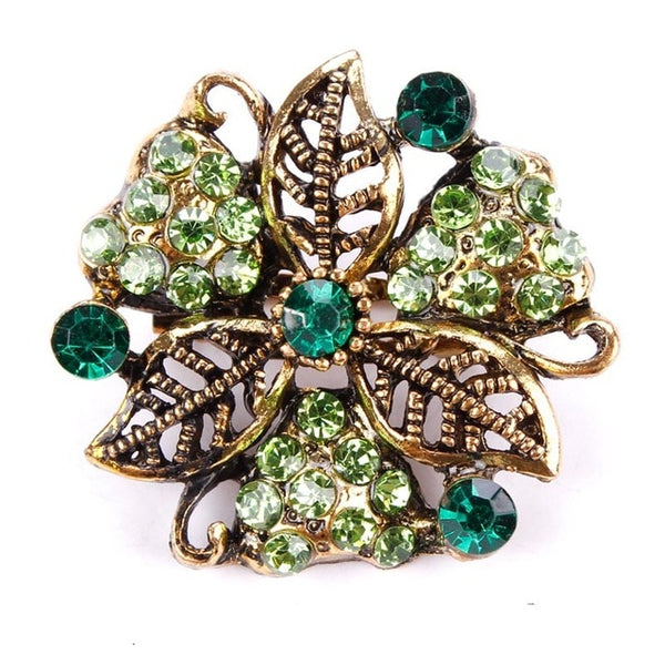 Vintage Gold Flower Brooches for Women Wedding Bridesmaid Rhinestone Bouquet Brooch - ShopOnlineNG01