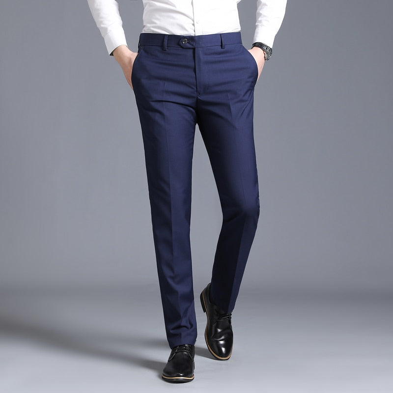 Men's slim suit separate trousers formal wedding business fashion straight men's trousers light grey thin office dress pants - ShopOnlineNG01