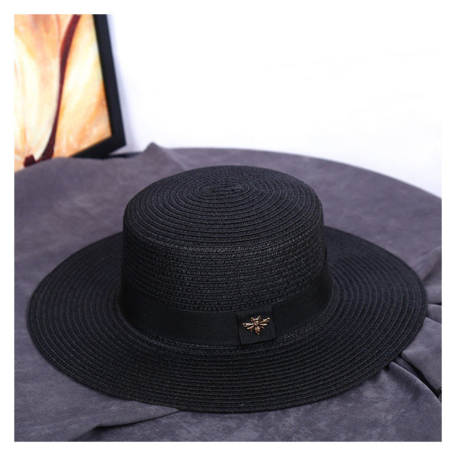Sun Hats Small Bee Straw Hat European and American Retro Gold Braided Hat Female Loose Sunscreen Sunshade Flat Cap Visors Hats - ShopOnlineNG01