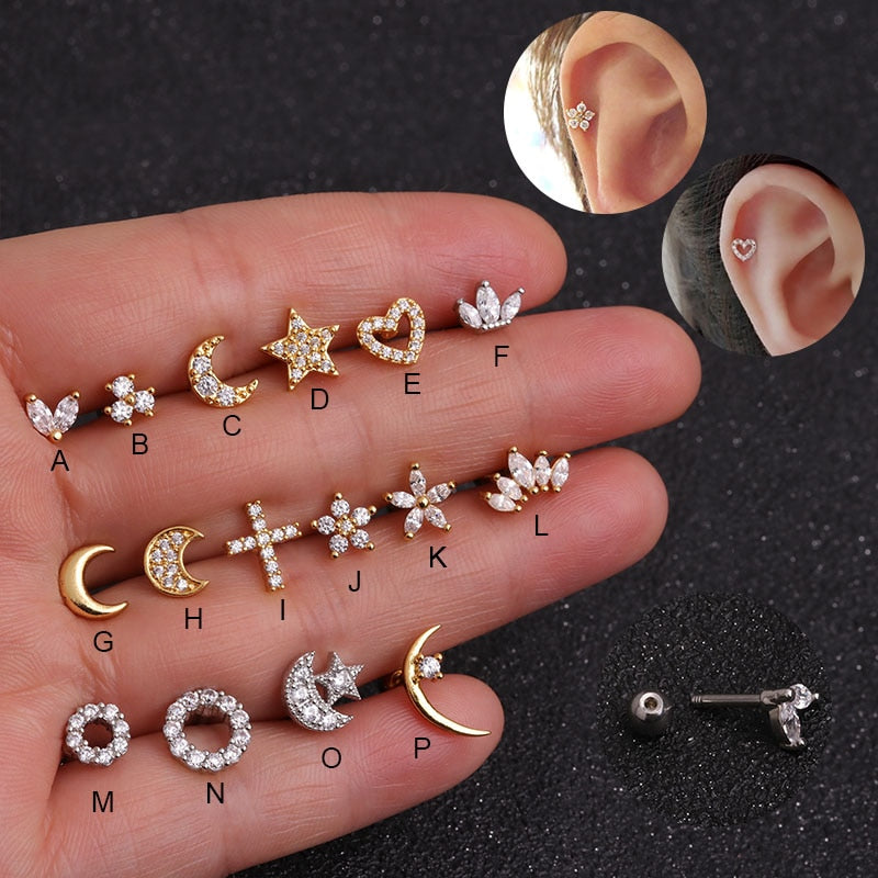 Sellsets Silver And Gold Color CZ Stud Piercing Moon Star Cartilage Earring Conch - ShopOnlineNG01