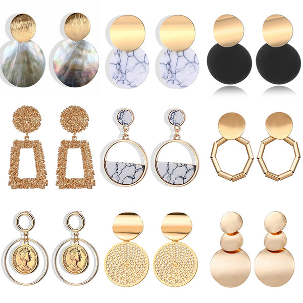 2019 new Korean version of the earrings female models round heart pendant earrings fashion big gold geometric jewelry wholesale - ShopOnlineNG01