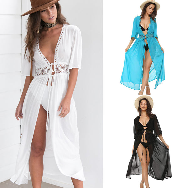 3 Color Sexy Bikini Cover Up Women Beach Dress 2019 Swimwear Chiffon Plus Size Bathing Suit Maxi Dress Bandage Kimono Cardigan - ShopOnlineNG01