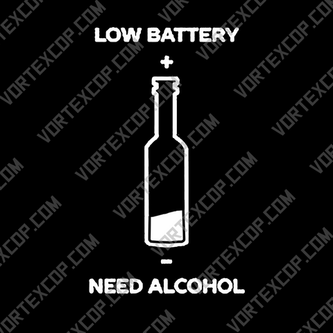 Autocollant pour Voiture en Vinyle - Low Battery, Need Alcohol