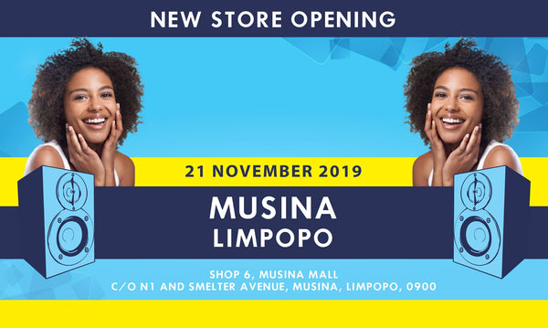 New electronics and music instrument store opening in Musina, Limpopo.