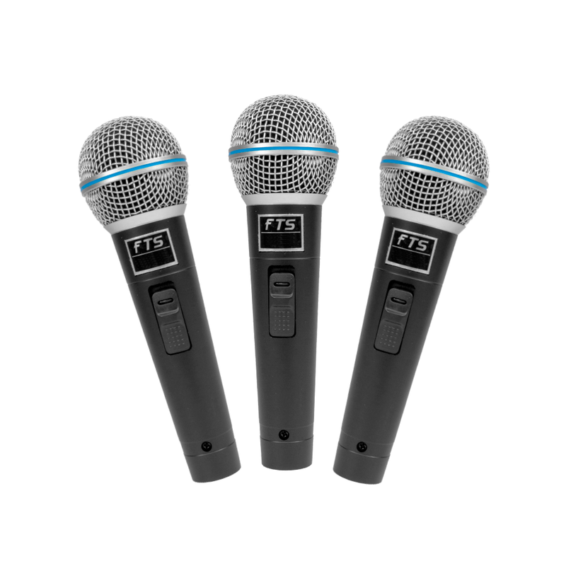 FTS Three In-Pack Dynamic Vocal Microphones. MIC3C