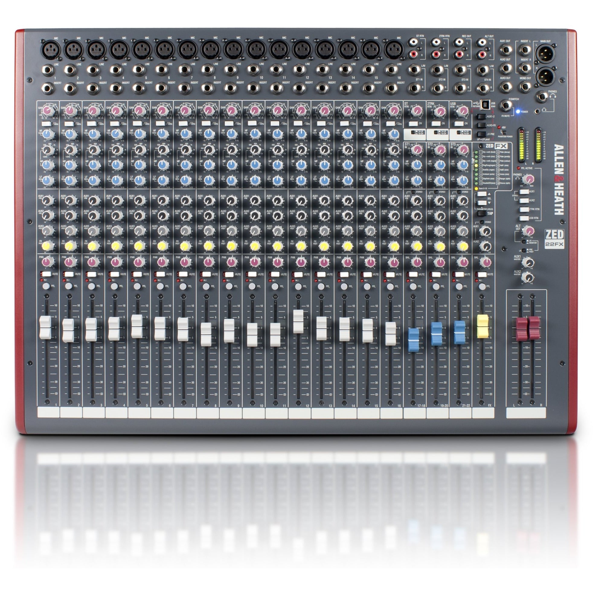 Allen & Heath ZED22FX 16 Mic/Line 4 Stereo, 4 Aux 100mm Faders USB Mixer