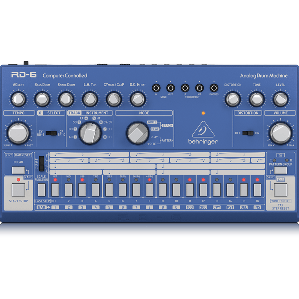 Behringer RD-6-BU Classic Analog Drum Machine (Blue),fastrak-sa.