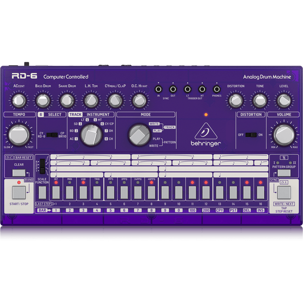 Behringer RD-6-GP Analog Drum Machine (Purple Translucent),fastrak-sa.