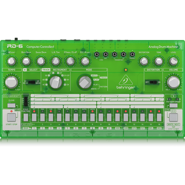 Behringer RD-6-LM Analog Drum Machine (Lime),fastrak-sa.
