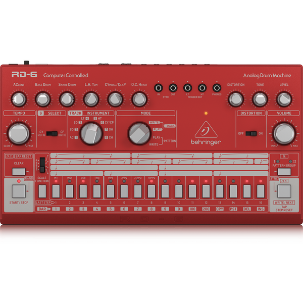 Behringer RD-6-RD Classic Analog Drum Machine (Red)