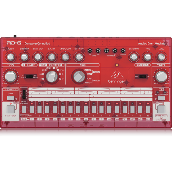 Behringer RD-6-SB Analog Drum Machine (Red Translucent),fastrak-sa.