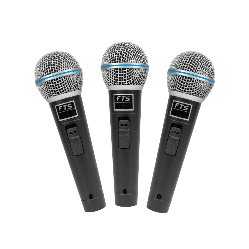 FTS Three In Pack Dynamic Vocal Microphones - fastrak-sa