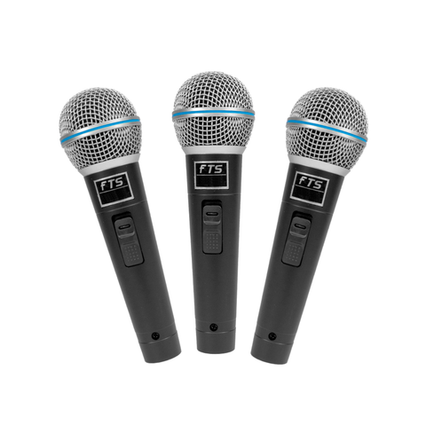 FTS Plastic Moulded Dynamic Microphones Three in Pack