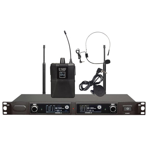 FTS-KU500MKII Dual 1 Handheld and 1 Headset UHF microphones