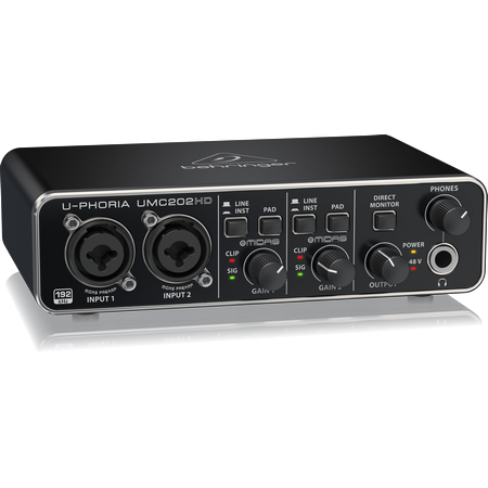 Behringer UMC-202HD USB Audio Interface with Midas Mic Preamplifiers,fastrak-sa.