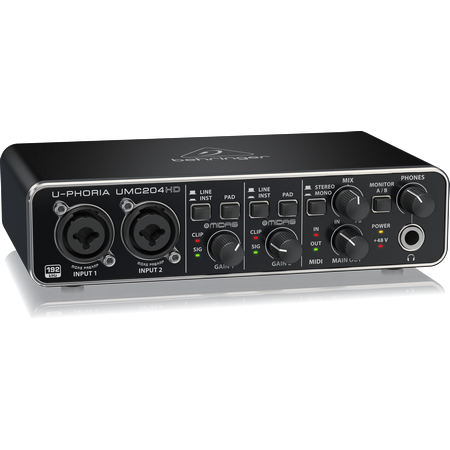 Behringer UMC204HD USB Audio/MIDI Interface with Midas Mic Preamplifiers (4519896318019)