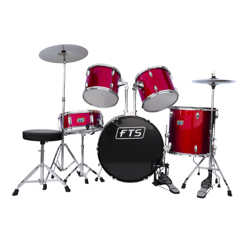 FTS Red 5PC Drum Set With Cymbals And Throne JW225PVC-12