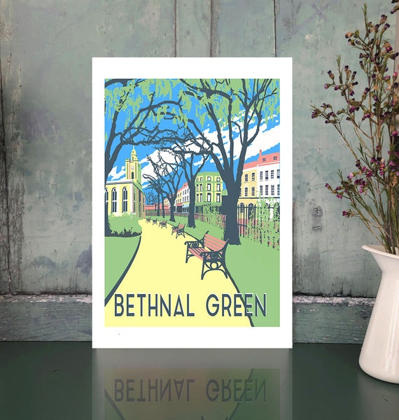 Bethnal Green unframed art print with flowers