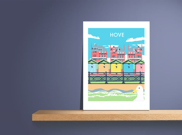 Hove  Print,  unframed resting on shelf by a mauve wall by Red Faces Prints