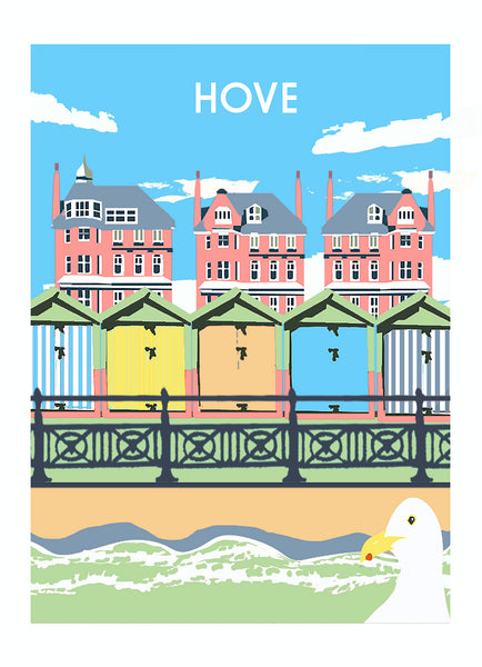 Hove  Print, featuring beach huts and railings, unframed by Red Faces Prints