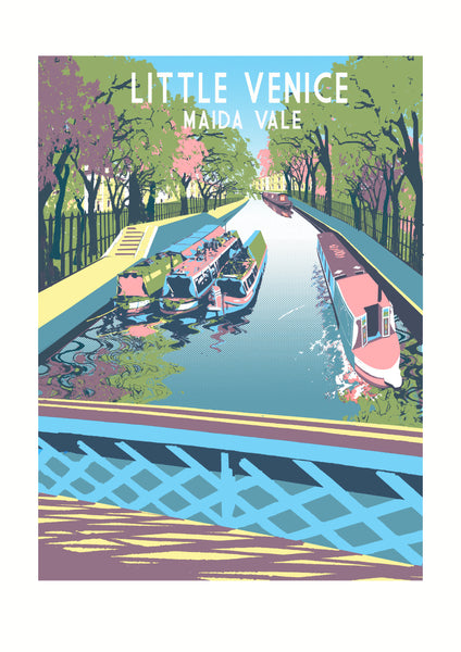 Little Venice Screen Print, Maida Vale Limited Edition Art, A3 London Illustration - Red Faces Prints