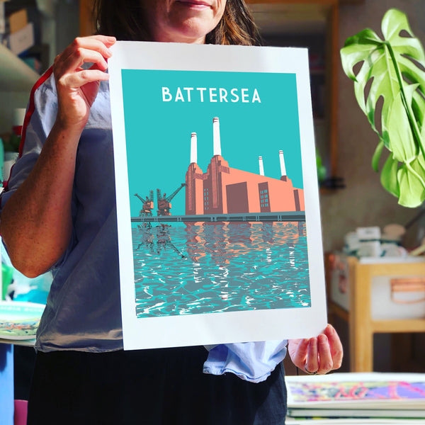 Battersea Power Station Screen Print, London Illustration - A3 Limited Edition Art - Red Faces Prints