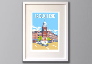 Crouch End Print - A3 Limited Edition Giclee Art - Red Faces Prints