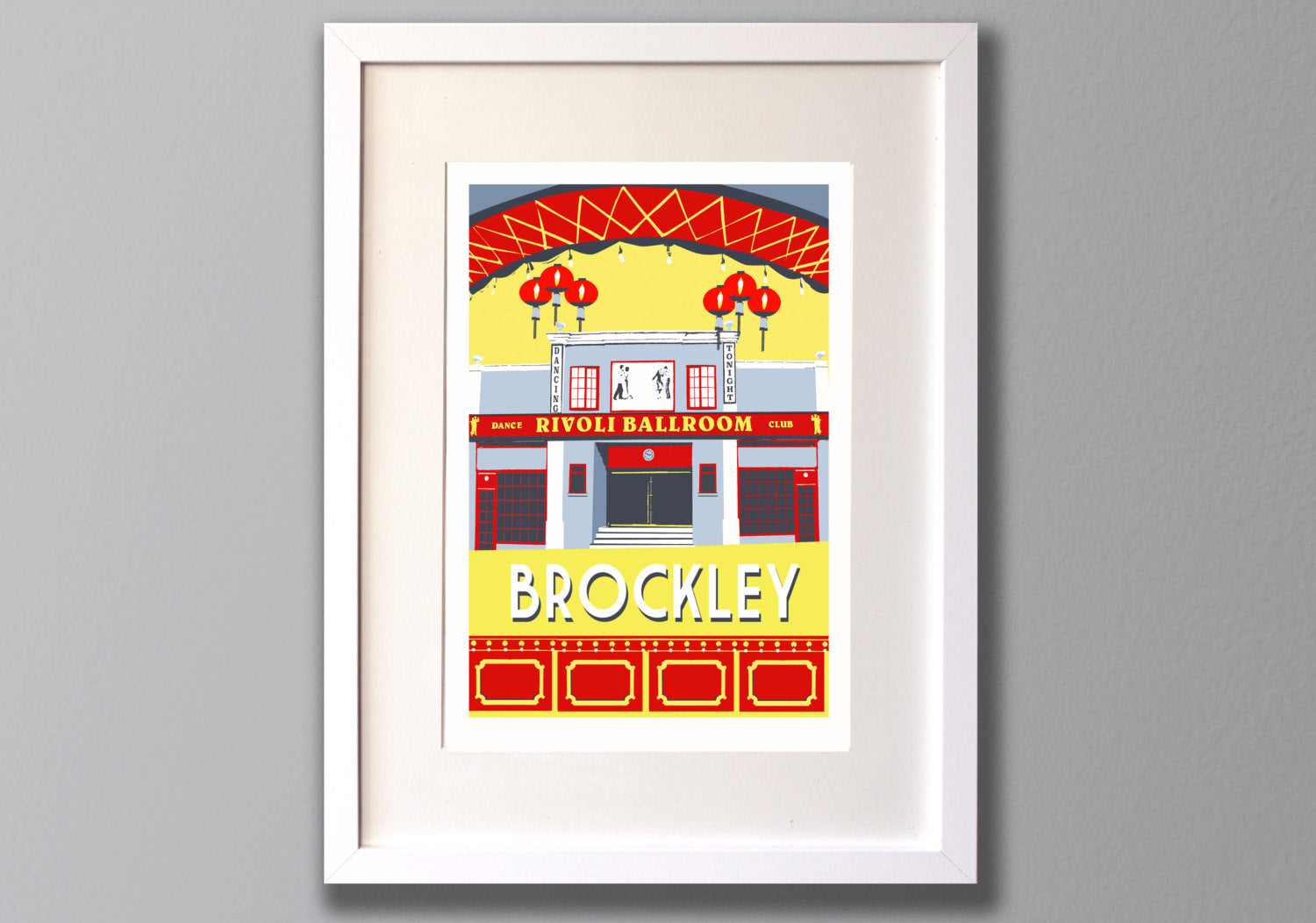 Brockley Rivoli Ballroom Screen Print, Local London Art - Red Faces Prints