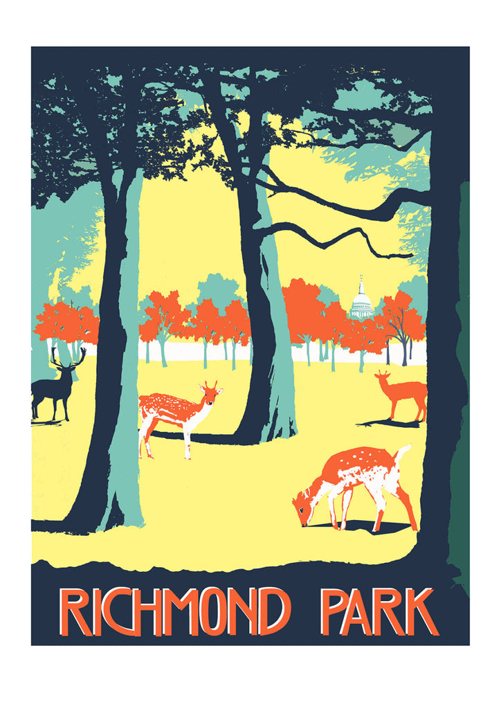 Richmond Park Screen Print Limited Edition Local London Art Red Faces Prints