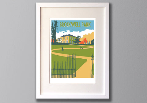 Brockwell Park Screen Print, A3 Limited Edition London Art - Red Faces Prints