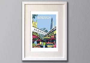 Borough Market Print, A3 Limited Edition London Giclee Art - Red Faces Prints
