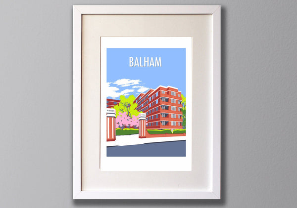 Balham print, A3 Limited Edition Giclee Art - Red Faces Prints