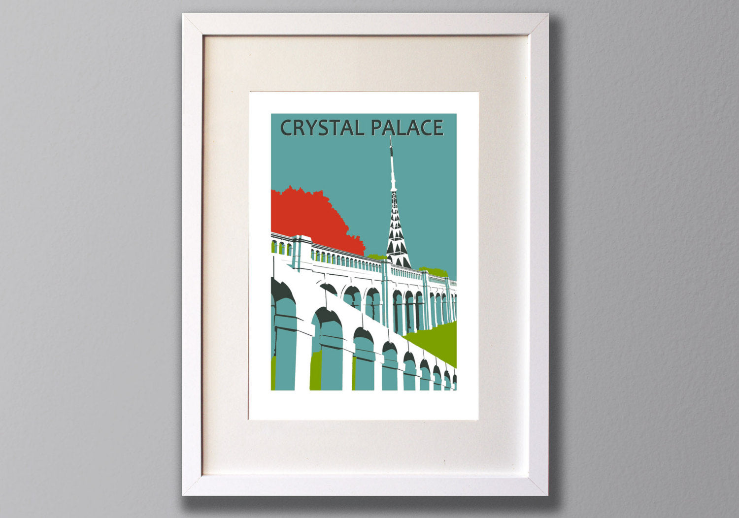 Crystal Palace Park Screen Print, Limited Edition A3 London Art - Red Faces Prints