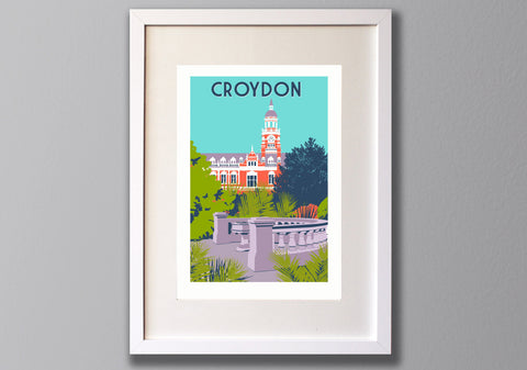 Croydon Print, Town Hall A3 Giclee art - Limited Edition - Red Faces Prints