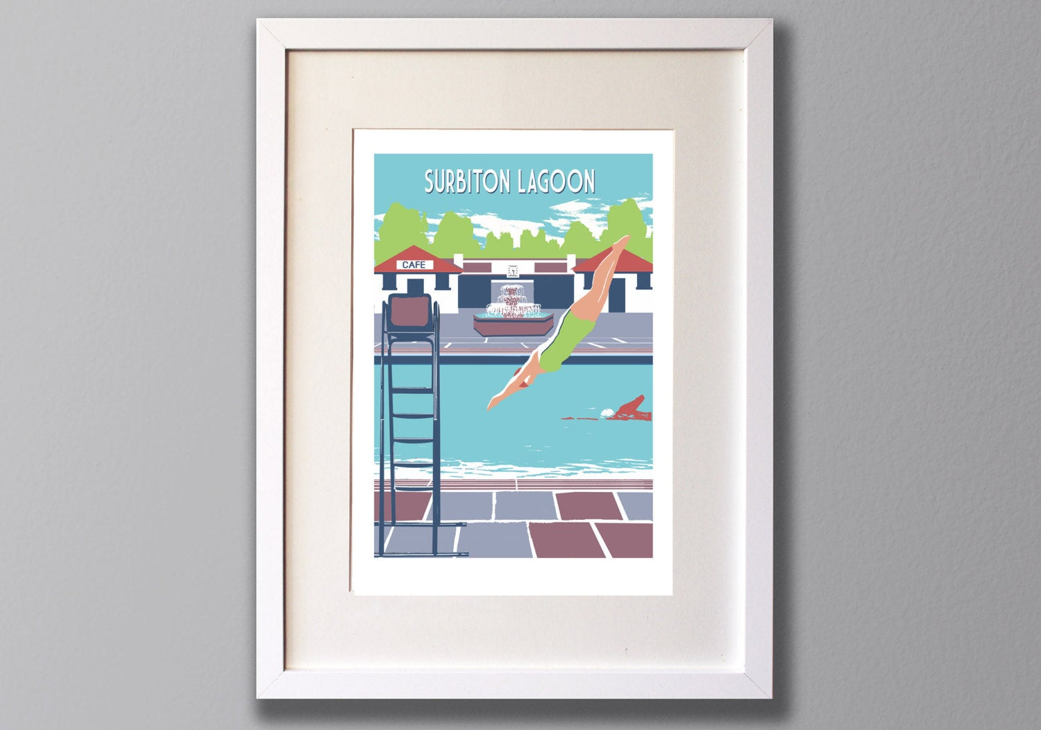 Surbiton Lagoon, Limited Edition A3 Screen Print, Greater London, Surrey, UK -  (UN)FRAMED Art - Red Faces Prints