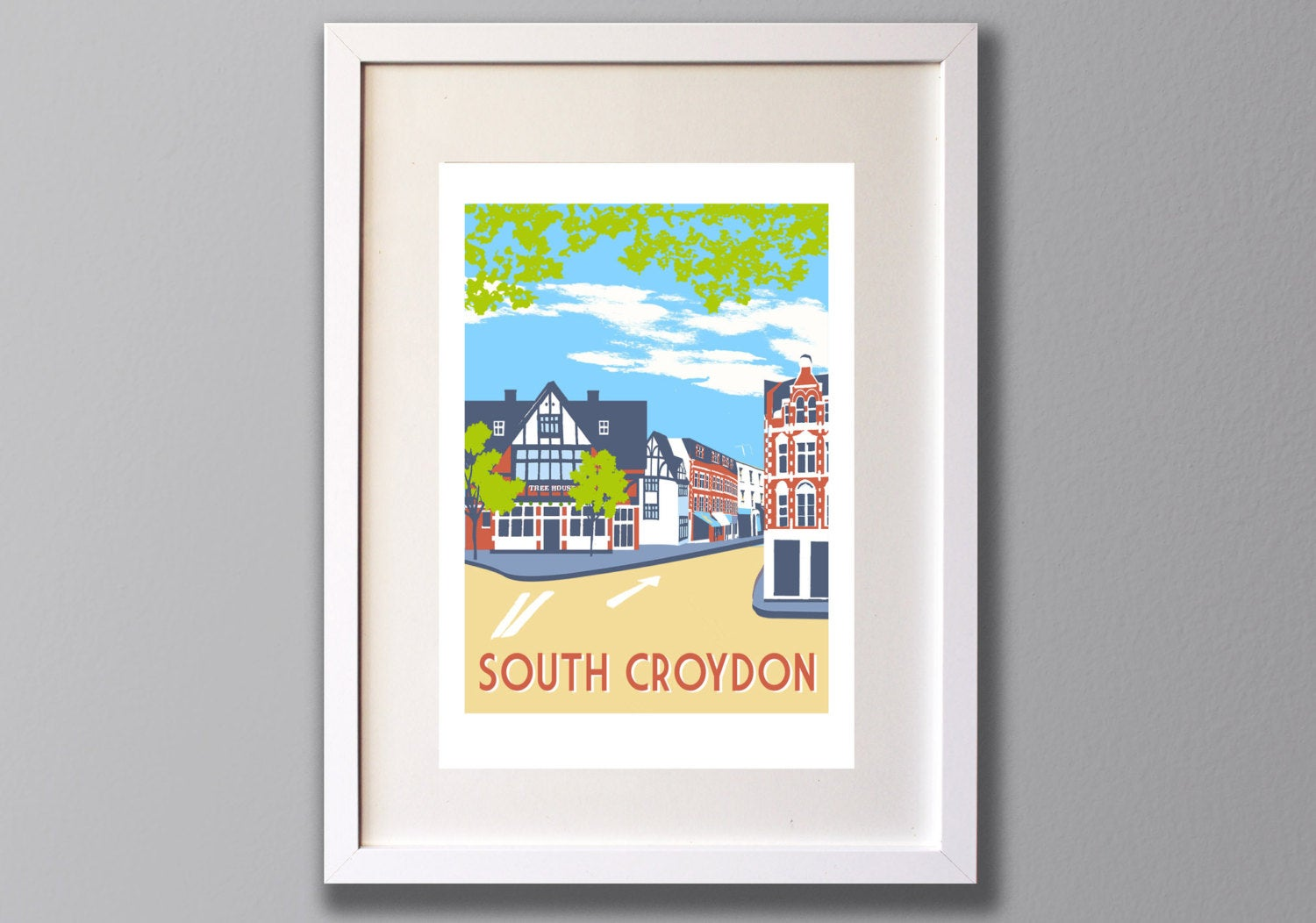 South Croydon - A3 Giclee print - Limited Edition - (UN)FRAMED - Red Faces Prints