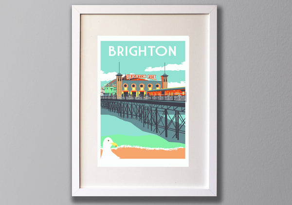 Brighton Screen Print, A3 Seaside Art - Red Faces Prints