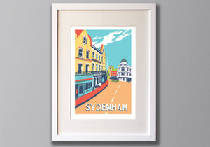 Sydenham, Limited Edition A3 Screen Print, South London -  (UN)FRAMED Art - Red Faces Prints
