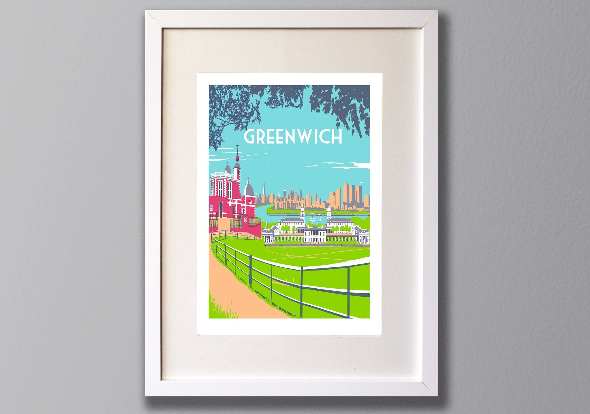 Greenwich Screen Print, Limited Edition London Art A3 - Red Faces Prints