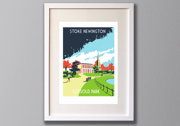 Stoke Newington, Clissold Park,  London – A3 Limited Edition Screen Print - Unframed or Framed - Red Faces Prints