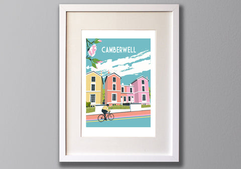 Camberwell Screen Print, Limited Edition A3 London Art - Red Faces Prints