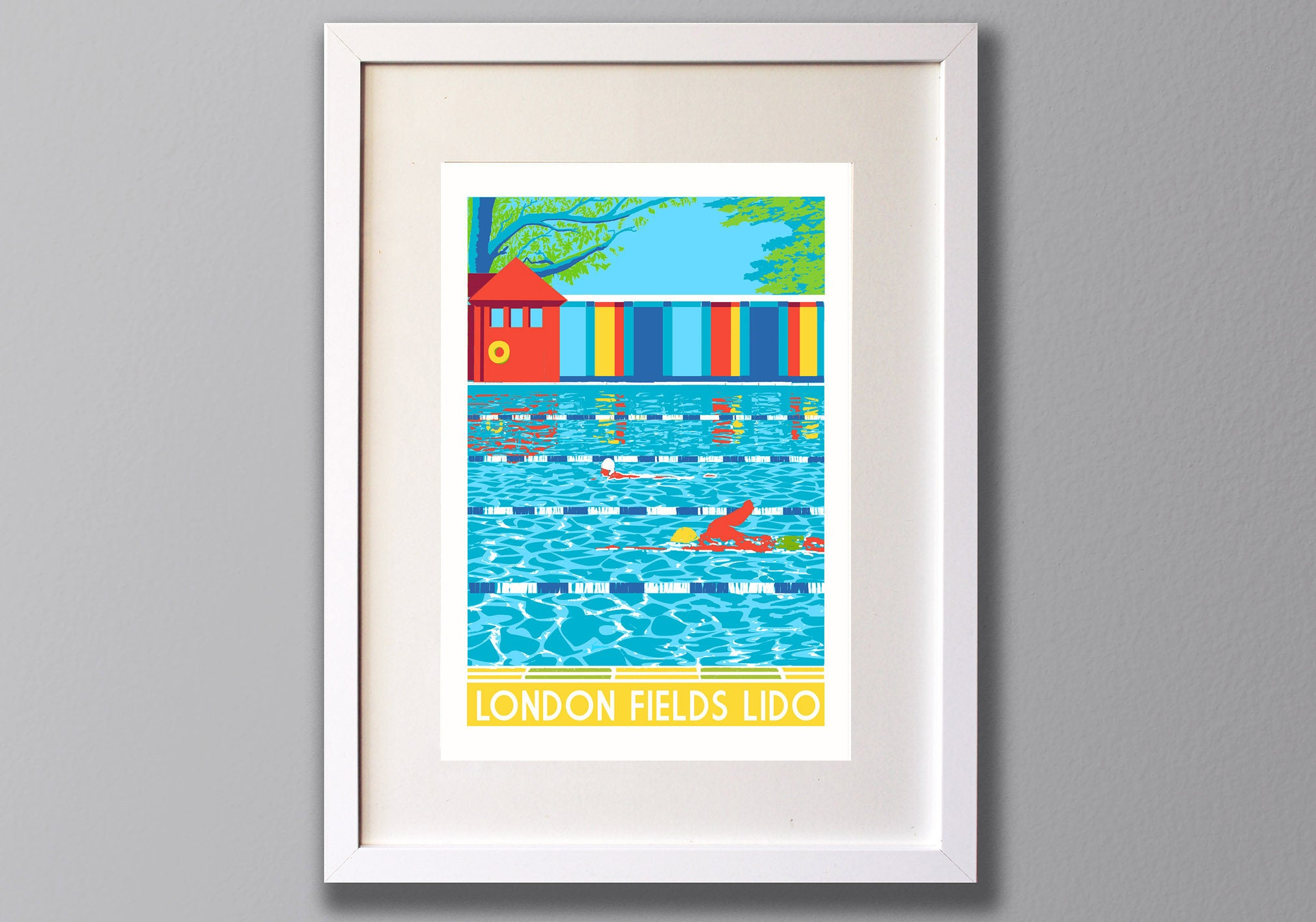 London Fields Lido Print - Limited Edition A3 Giclee Art - Red Faces Prints