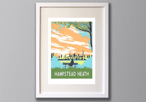 Hampstead Heath Screen Print,  London Illustration, Limited Edition A3 Art - Red Faces Prints