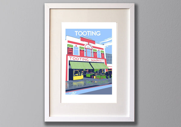 Tooting Market - A3 Screen print - Limited Edition - (UN)FRAMED - Red Faces Prints
